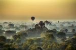 Balloon over Pagoda at Sunrise, Bagan