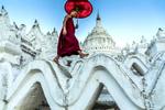 Monk Walking on Pagoda