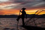 Fisherman Inle Lake at Sunset