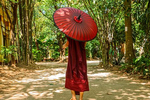 Monk Walking with Umbrella in Monestery, Yangon