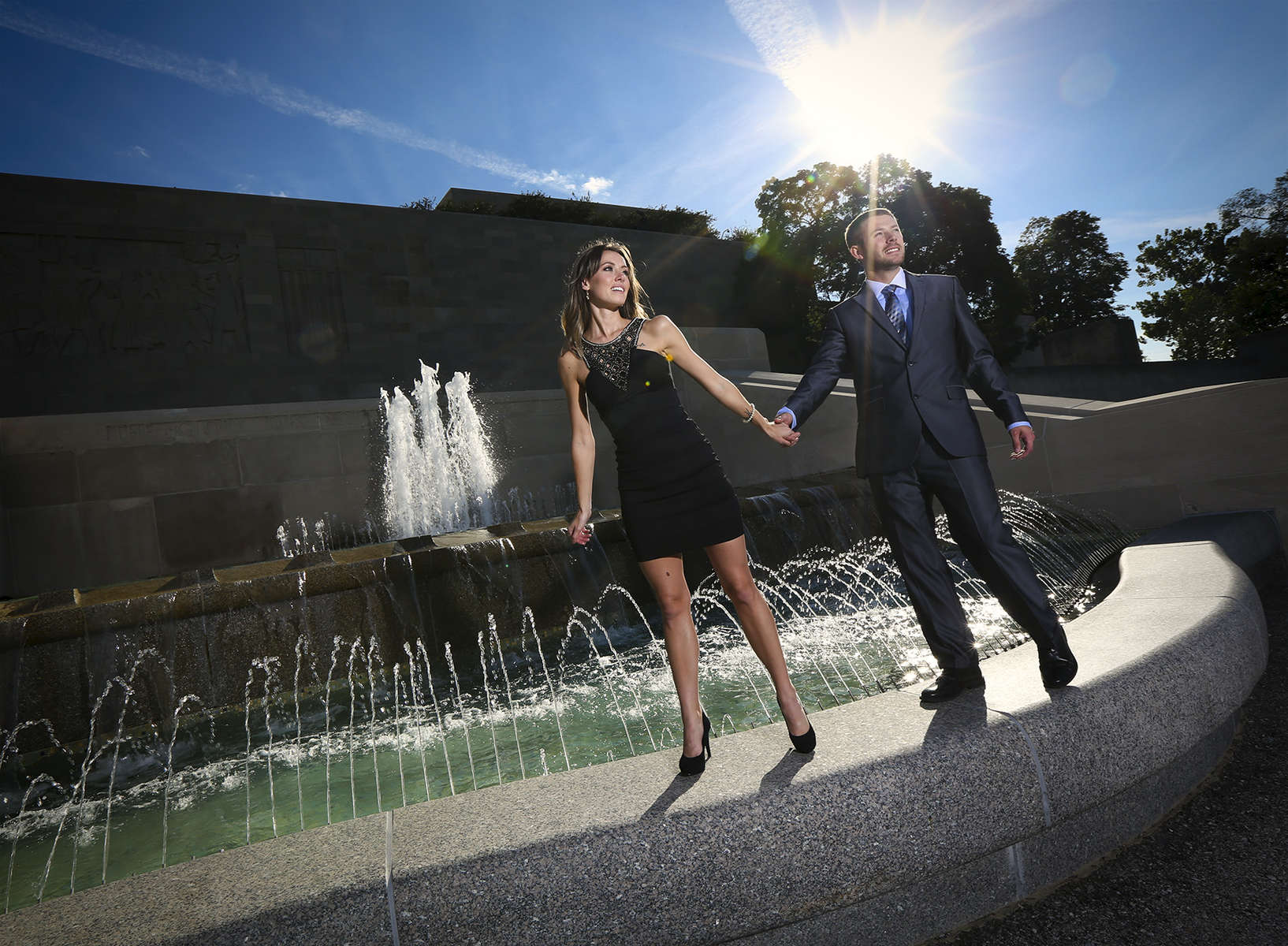 Engagement photo session in Kansas City, Liberty Memorial