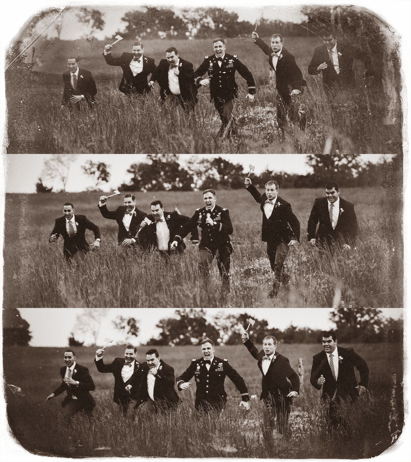 A groom has his picture taken with his groomsmen.