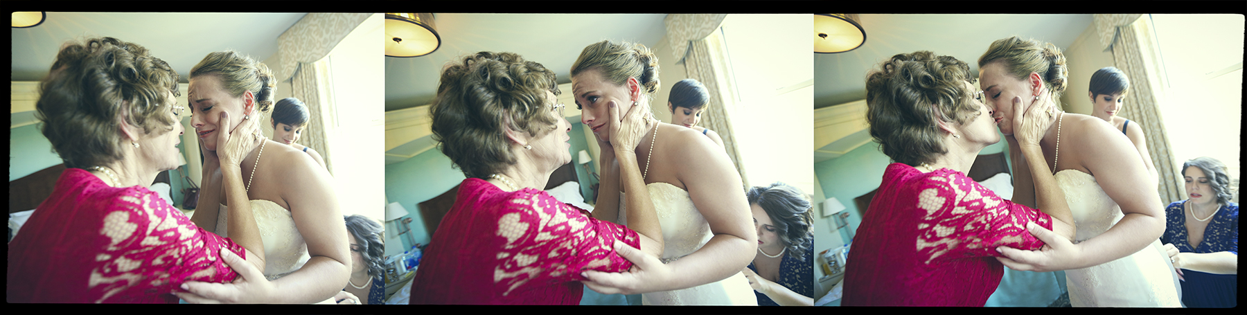 Putting on the wedding dress with mom.