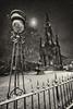 Edinburgh's Scott monument in the moonlight, covered in snow