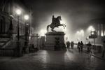 Edinburgh's Princes street statue of Duke of Wellington in the fog at night