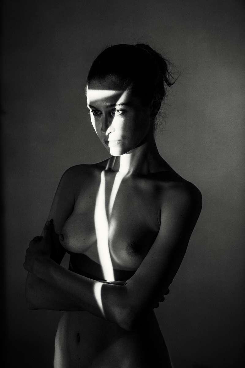 fine art nude of a beautiful woman in B+W