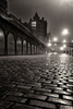 East Market Street looking toward North Bridge on a wet foggy night
