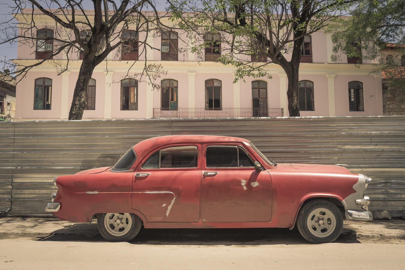old red car in Havana
