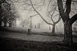 gravestones in Greyfriars Kirk at night.