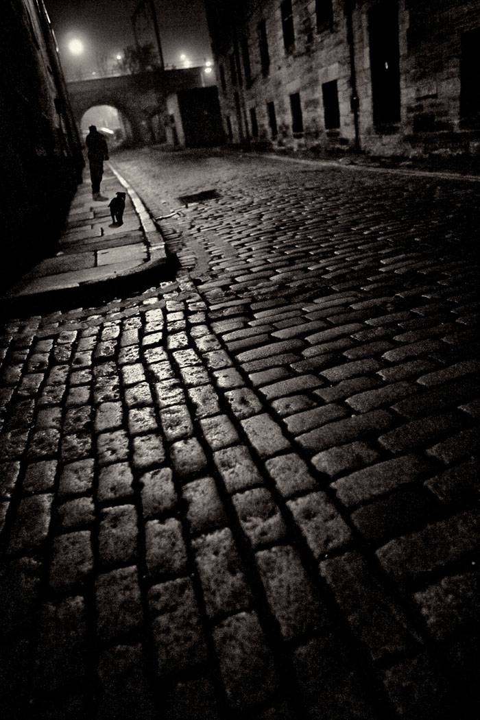 Croft-an-righ cobbled lane at night