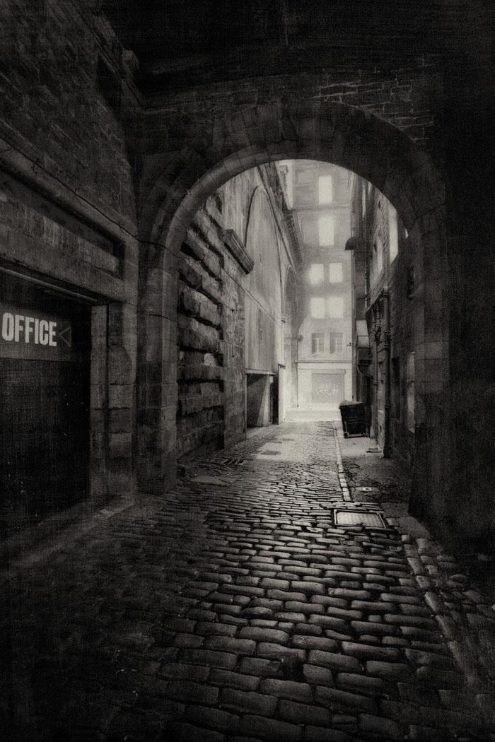 close off the Cowgate at night in the fog