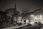 Edinburgh Scott Monument in the snow at night.