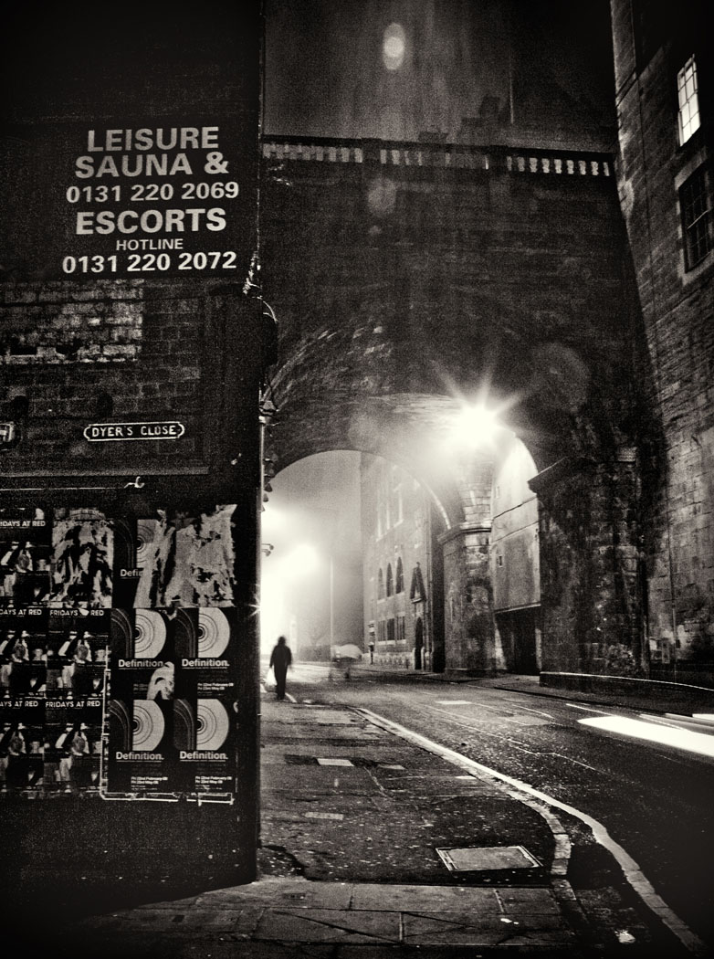The Cowgate at night in the fog