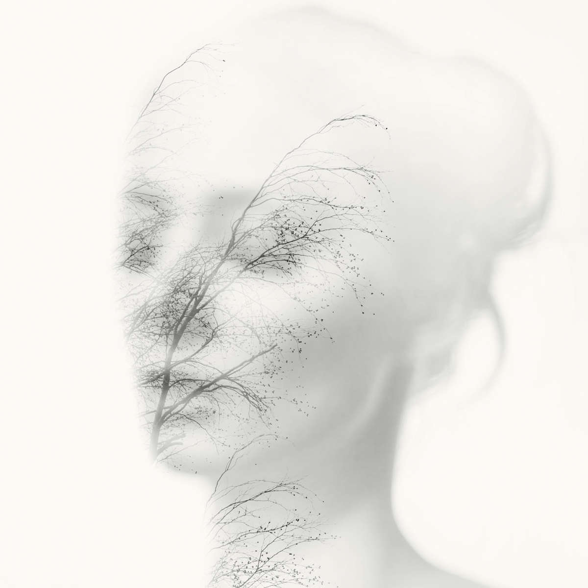 black and white double exposure nude portrait of a young woman with branches
