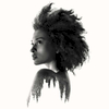 Double exposure nude portrait of a young woman with an afro