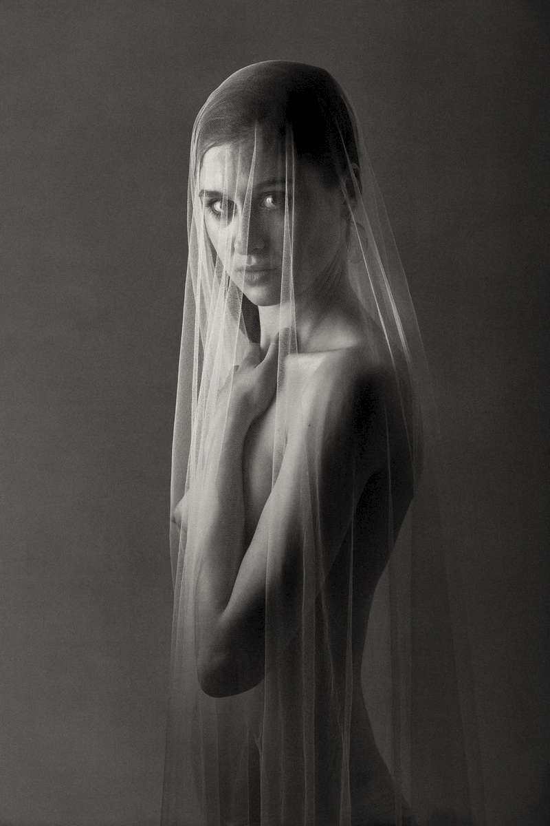 fine art black and white studio female nude with draped veil