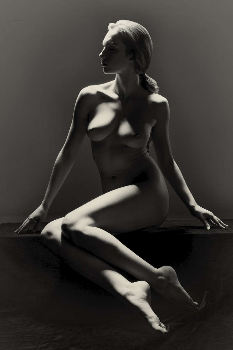 fine art black and white studio female seated nude
