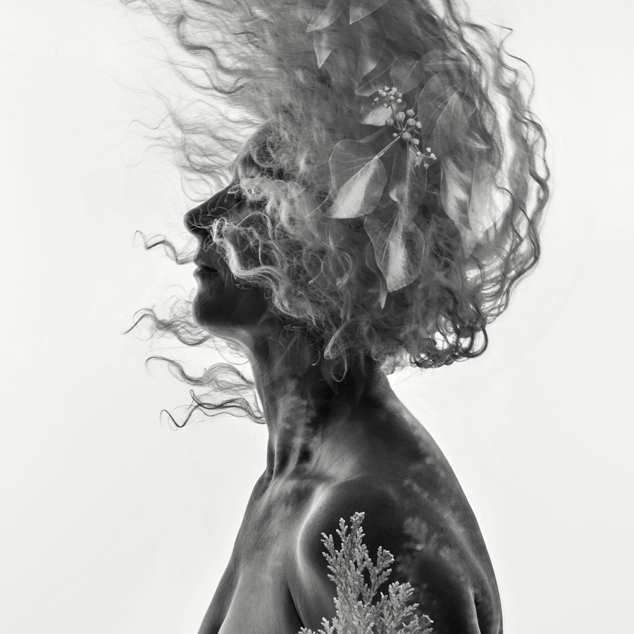 double exposure nude of a woman with flying hair