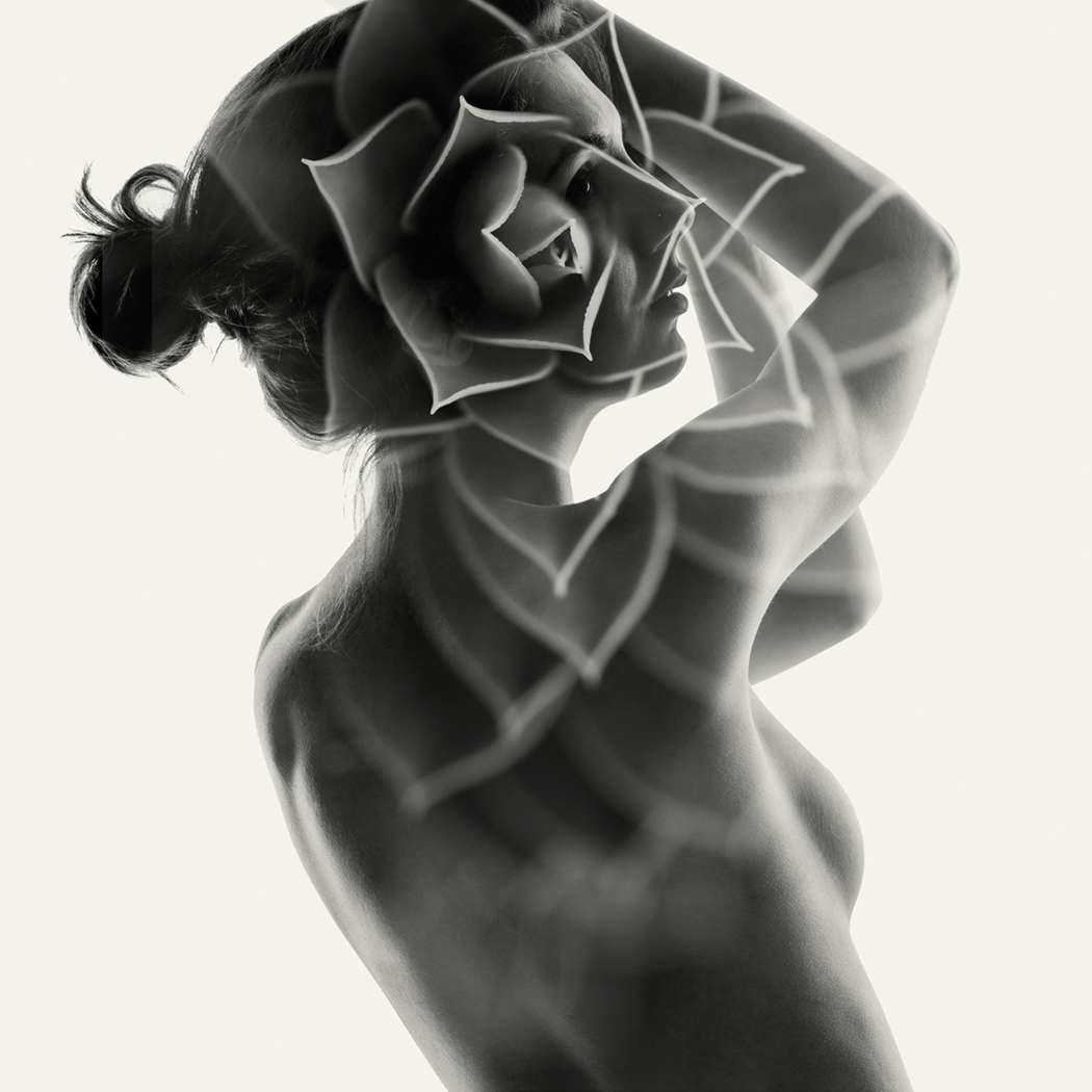 double exposure  portrait of a nude girl