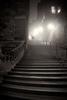 ORNG6220-couple-walking-up-Warriston-Close-steps-in-the-dark-in-Edinburgh-fog-orange-