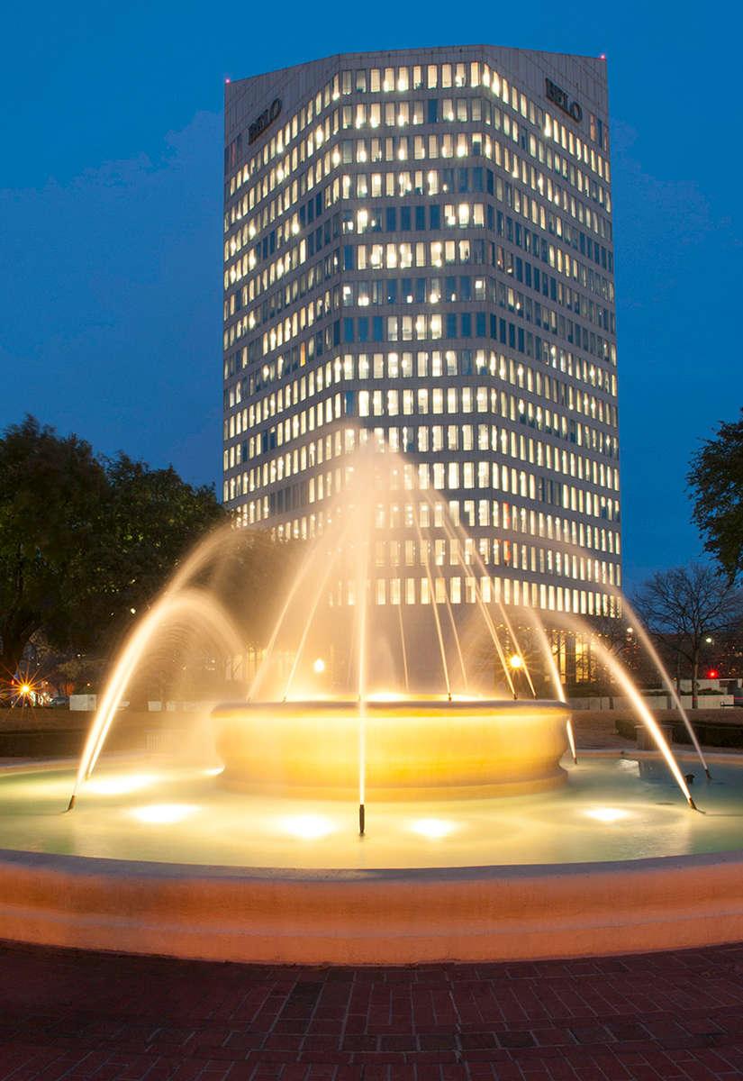 Belo-Building-Downtown-Dallas-Evening-Photo