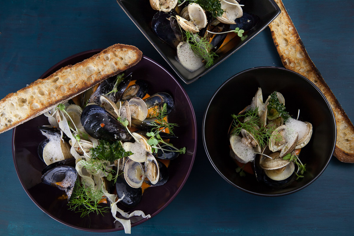 Mussels and Clams: pinot grigio broth, fresh basil, shallots, lemon compund butter, chili flake, charred baguette. Second Story Liquor Bar. Scottsdale, AZ