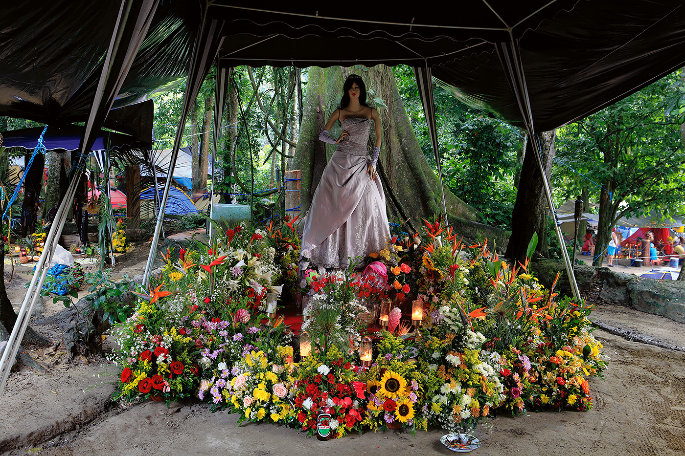 Elaborate displays are made to their Queen.  Each altar reflects the personal devotion of each adherent of the faith.  This one from a wealthy man from the capital city of Caracas.