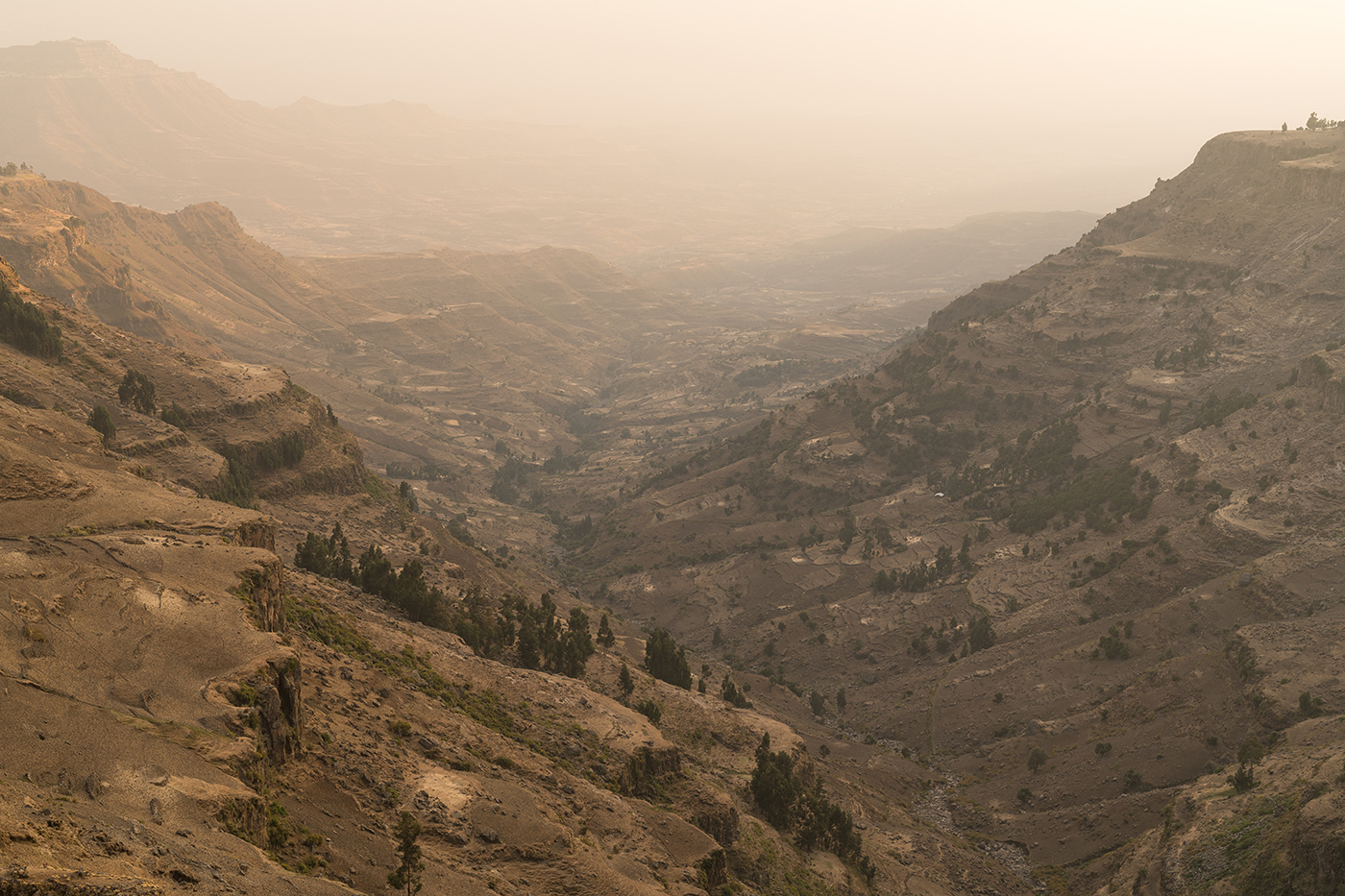 Looking west into the Semien Wollo region of the Amhara highlands.