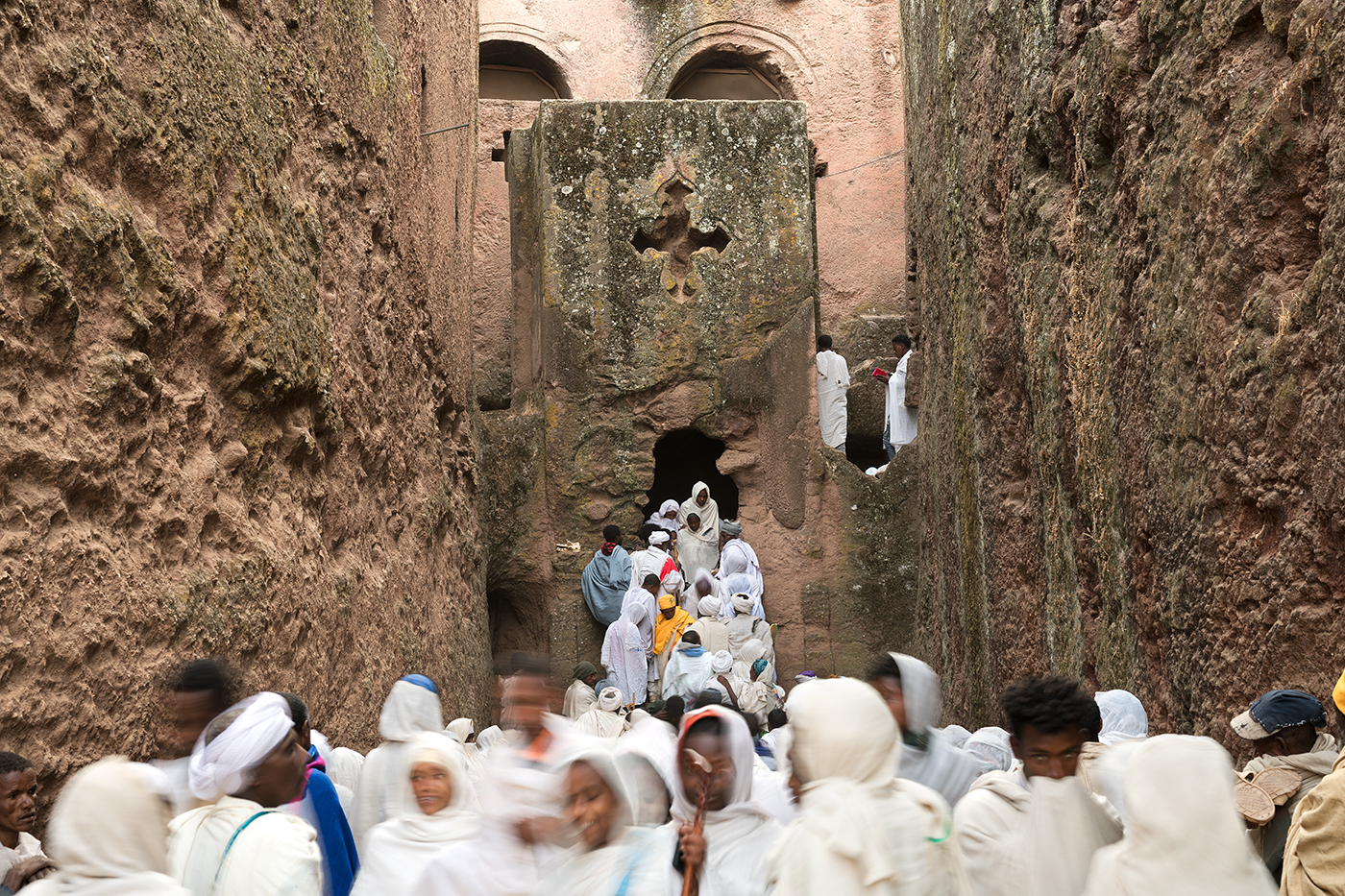 Pilgrims descend from the Tomb of Adam.