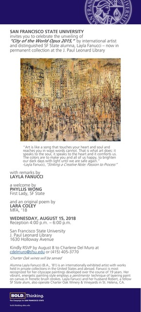 Unveiiling of Painting City of the World Opus, 2015, Layla Fanucci. San Francisco J. Paul Leonard Library Paul Leonard LibraryAug 15, 2018