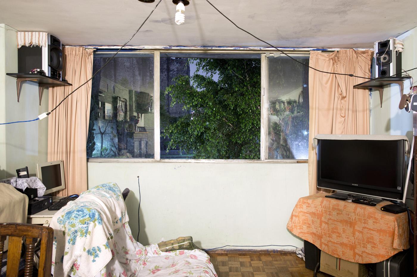 C-109, María del Rocío Pérez Turlay. The interior livingroom windows of apartments in the Chihuahua building of Tlatelolco. Mario Pani´s Tlatelolco, plaza de las 3 culturas, Mexico DF