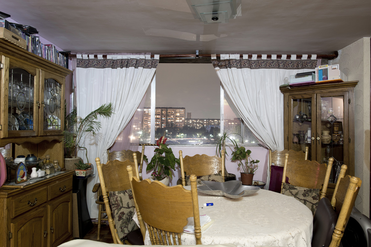 The interior livingroom windows of apartments in the Chihuahua building of Tlatelolco. Mario Pani´s Tlatelolco, plaza de las 3 culturas, Mexico DF