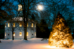 Night time long exposure photography of the Old Round Church with Christmas trees on January 22, 2016 in Richmond, Vermont. Shot by Reciprocity Studio for Efficiency Vermont