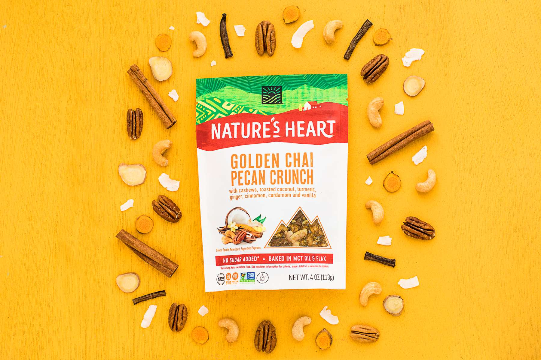 Food photography of granola Golden Chai Pecan Crunch, shot for Nature's Heart, by JAM Creative food photographers.