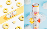 Beverage product photography with pineapples, fruit and mirrors for Seagram's Hard Seltzer line.