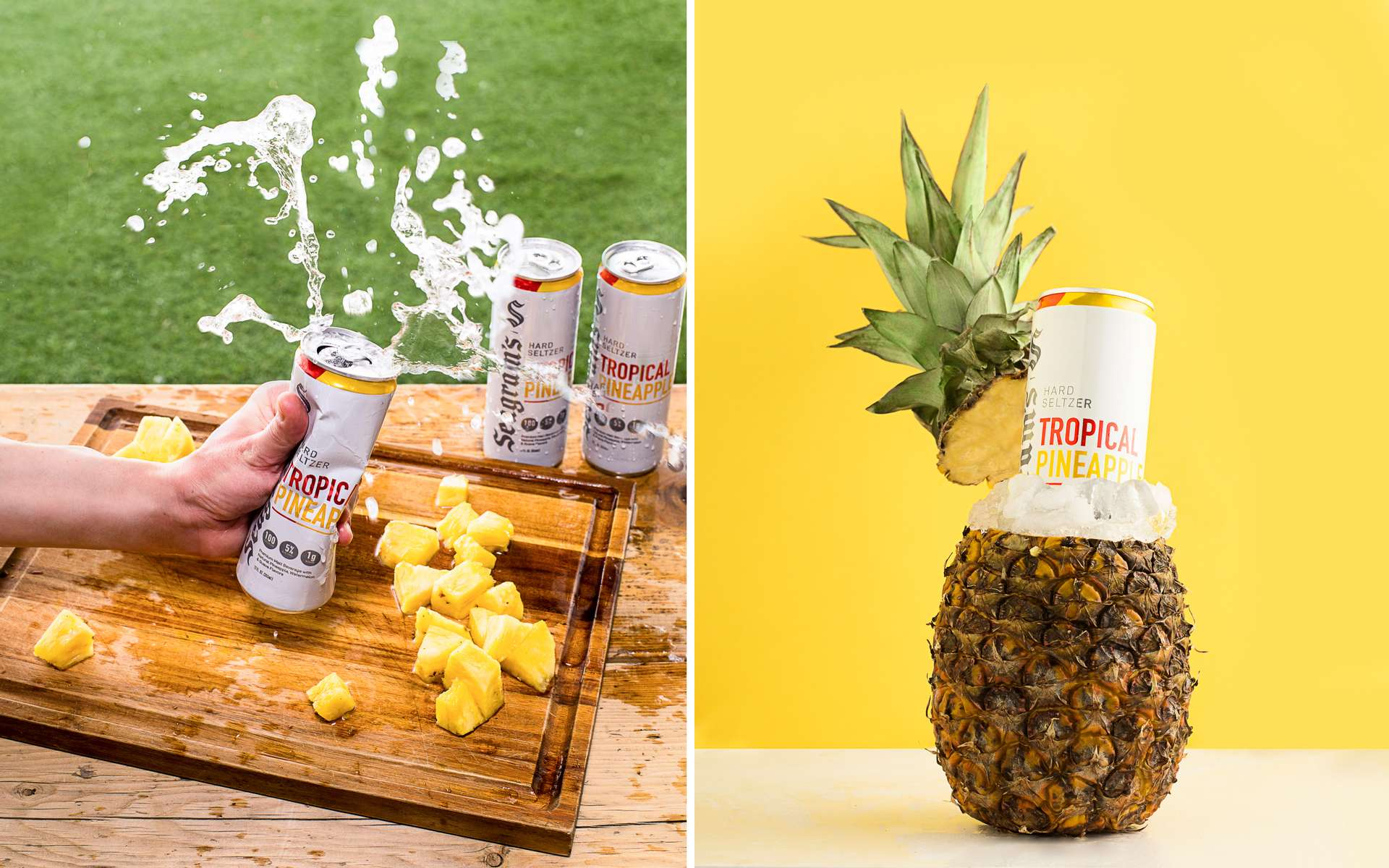 Beverage product photography with pineapples, fruit and splashes for Seagram's Hard Seltzer line.