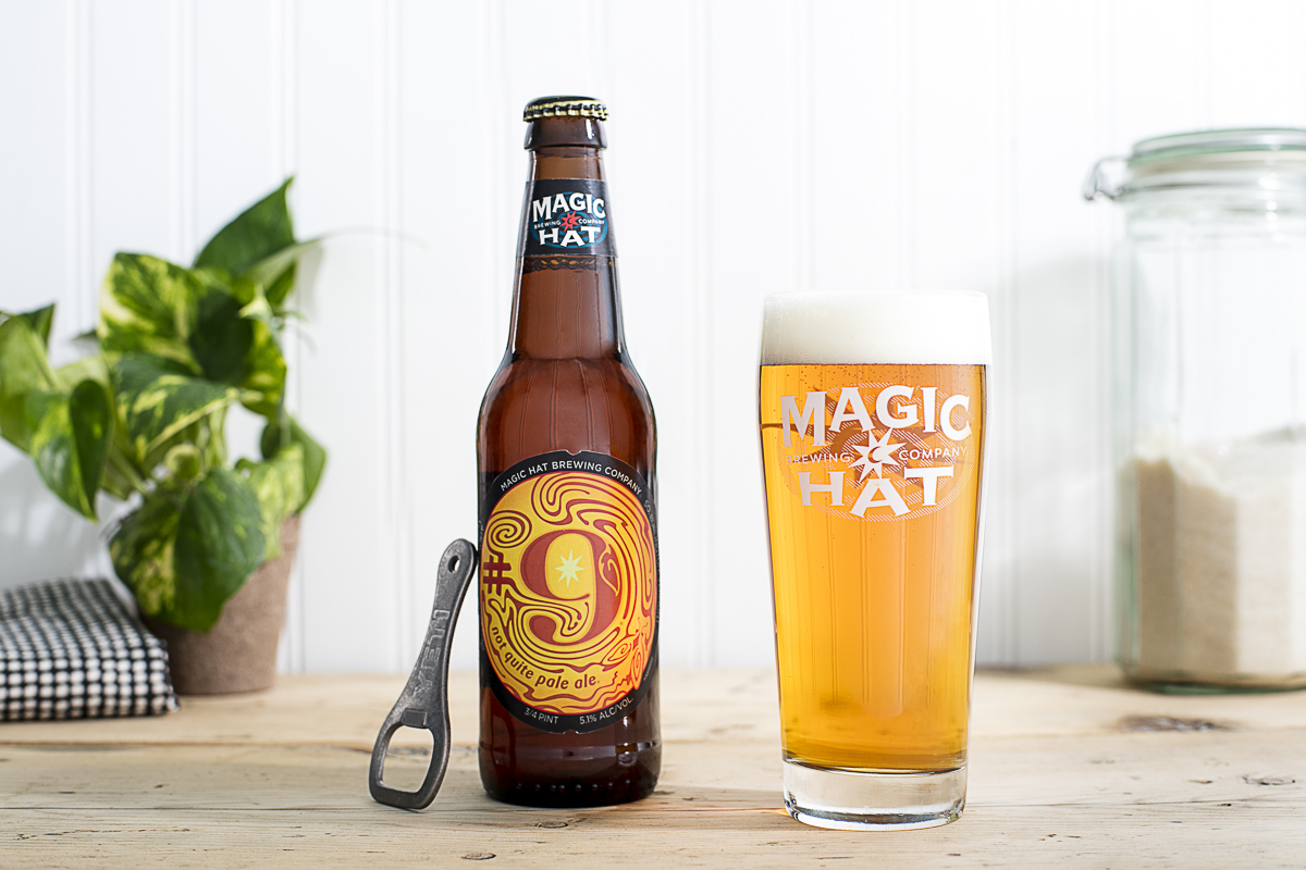 Magic Hat Brewing beer Number Nine on a kitchen countertop. Lifestyle product photography by Jam Creative for Magic Hat.