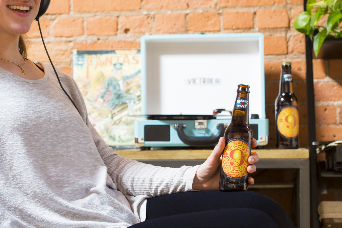 LIstening to music and drinking magic hat beer Lifestyle photography photoshoot