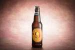 Magic Hat Brewing Company beer Number 9 Not Quite Pale Ale bottle on pale pink background.  By commercial photographers at JAM Creative.