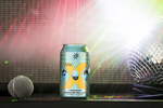 Magic Hat Brewing Company beer X Ambassadors American pale ale can with amp, microphone and disco ball.