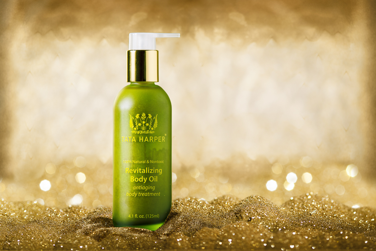 Skincare and cosmedic product photography. Revitalizing Body oil by TaTa Harper, photo by Jam Creative.