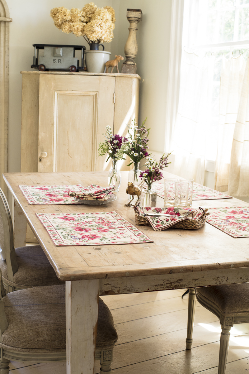 Winter and summer linens by April Cornell - tablecloths, napkins, pillows and more photographed by JAM Creative commercial photographers in Vermont.