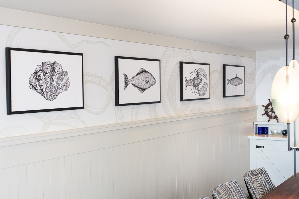 Unique decor for boutique hotels. Commercial still life photography of Cricket Radio interior. Wall art at Cliff House in Maine. by JAM Creative.
