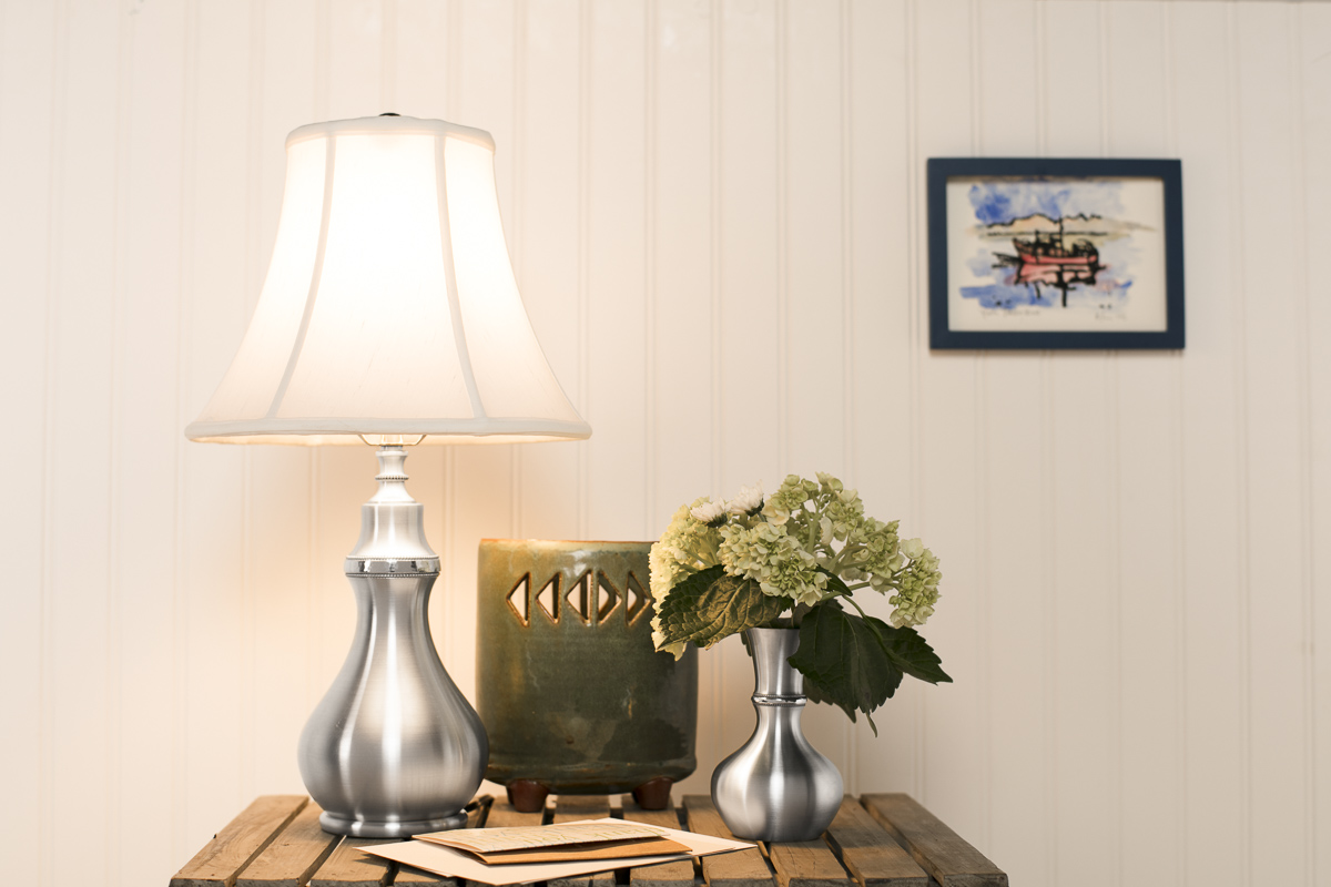 Pewter lamp and vase by Danforth Pewter photographed by JAM Creative