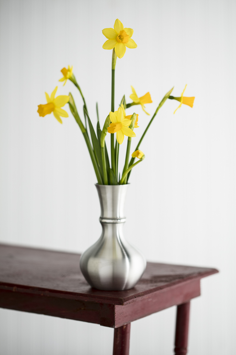 Pewter vase with flowers by Danforth Pewter photographed by JAM Creative