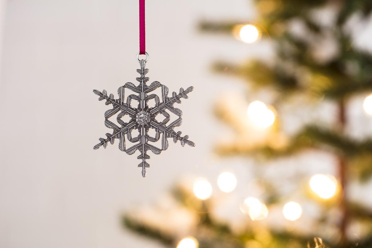 Pewter snowflake christmas tree ornamet by Danforth Pewter photographed by JAM Creative