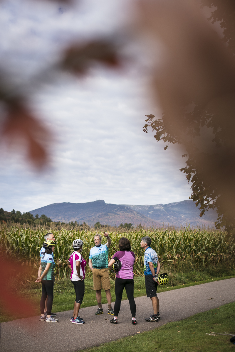 Vermont Bicycling and Walking Vacations bike tour in Stowe, Vermont during fall foliage season. by JAM Creative
