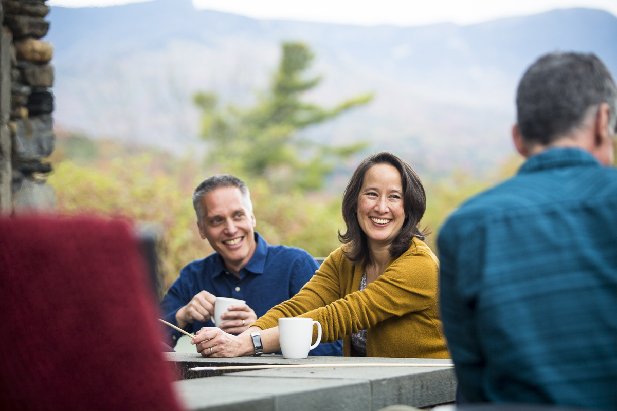 Vermont Bicycling and Walking Vacations bike tour ending at Top Notch Resort in Stowe, Vermont during fall foliage season. by JAM Creative