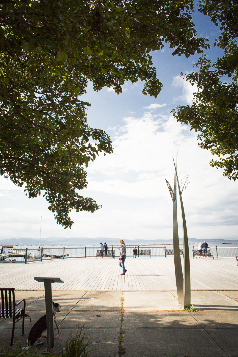 Plenty of seating, stretches of lawn, hanging benches and docks make for a leisurely daytime stroll down the Burlington Waterfront in Vermont on Tuesday, October 9, 2018. by JAM Creative for Yankee Magazine