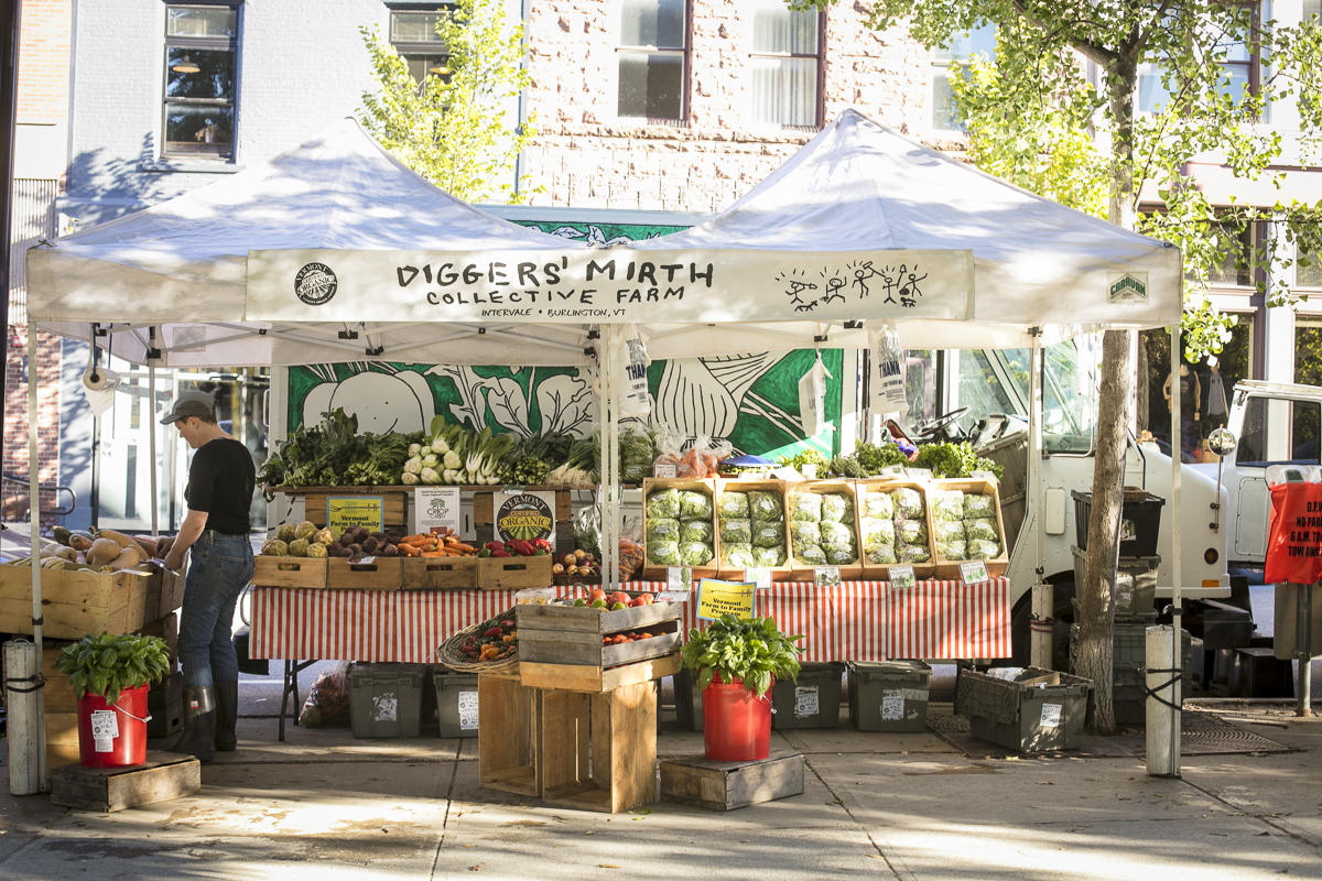 Fresh, local vegetables on display at the Diggers' Mirth Collective Farm booth at Burlington Farmers Market in City Hall Park on Saturday, September 29, 2018. by JAM Creative for Yankee Magazine